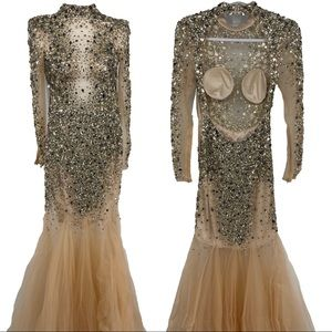 Dave and Johnny Beaded fit and flair gown